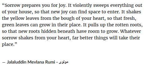 Rumi on sorrow